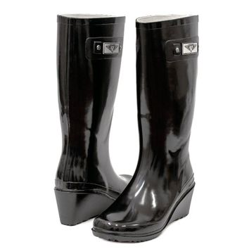 Women's & Ladies' Rubber Lined Rain Boots - Tall Mid Calf Wedge Heel / Snow Boots
