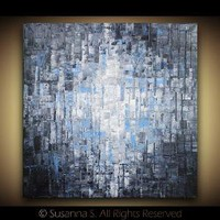ORIGINAL Large Blue Abstract Contemporary Fine by ModernHouseArt