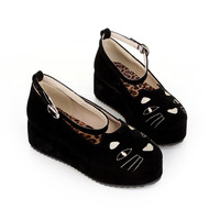 Korea Sexy Woman's Flat Buckle Multicolor  Cat Zipper Lady Platform Shoes Q41#
