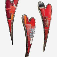 Swooping Hearts Wall Sculpture by Anthony Hansen: Metal Wall Art | Artful Home