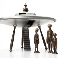 Flying Saucer with Alien Family by Scott Nelles: Metal Sculpture | Artful Home