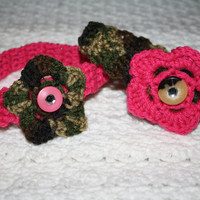 SALE BOGO Camo and Hot Pink Headband Sized Newborn with Bling- Adult headband- Ready to ship, Photo Prop Pick one, or set