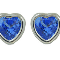 2 Carat Tanzanite Bezel Heart Stud Earrings .925 Sterling Silver Rhodium Finish