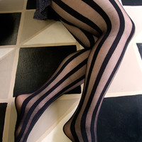 Socks by Sock Dreams » .Socks » Tights » Sheer & Opaque Vertical Stripe Tights