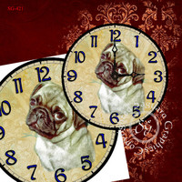 "DIY Medium Clock face - Digital Collage Sheet - 9""x 9"" sg421 - Tan Pug Image for home Decor, Plates - Arts & Crafts - Instant Download"