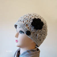 Grey Crochet Women Hat, Handmade Teen Hats,Gray woman Cap ,Crochet Beanie, with black flower