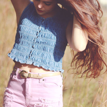 Dip Dyed Denim Shorts Mid Waisted Tie Dye Jean Shorts Hipster Tumblr