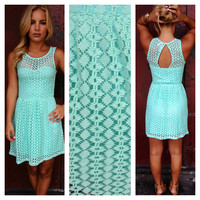 Mint Allie Texture Open Back Dress
