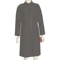 Gui Fu Ren Brown Dress Coat Rayon Textured Abstract Print NWT