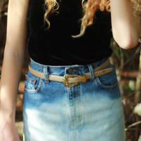 Vintage High Waisted Denim Skirt Dip Dye Jean Skirt