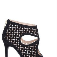 High Heel Bootie with Single Sole and Cutouts with Zip Up Back