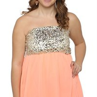Plus Size Strapless Top with Sequin Bodice and Chiffon High Low Hem