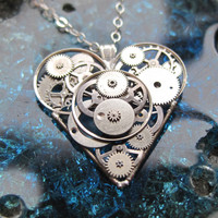 "Mechanical Heart Necklace ""Ironheart"" Clockwork Gears Heart Steampunk Necklace Clockwork Love Sculpture by A Mechanical Mind Mother's Day"