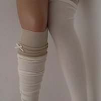 Ivory High Knee Socks Boot Socks Lace Over The Knee Socks