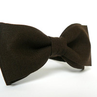 Men's Bow Tie by BartekDesign: dark brown linen pre tied necktie chic wedding grooms