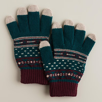 TEAL STRIPED TOUCH SCREEN GLOVES