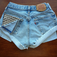 Size 0 Levi's High Waisted Studded Jean Shorts