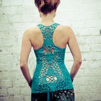Crochet Aqua racer back tank top, very detailed beautiful crochet