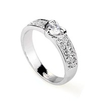 Magic Collection 18k Rose/White Gold Plated Heart Design 2-Row Round Cubic Zirconia Accent Ring Size 5-9 (White Gold Finish, 7)