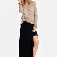 Broken Circle Slit Midi Skirt