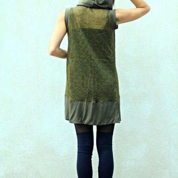 Bohemian Hooded Vest, Loose Knit Vest