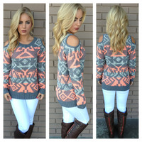 Coral & Grey Open Shoulder Tribal Knit Sweater