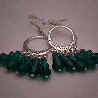 BLACK FRIDAY SALE - Swarovki Green Pendant Earrings