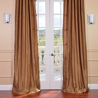 Half Price Drapes Vintage Textured Faux Dupioni Synthetic Rod Pocket Curtain Single Panel