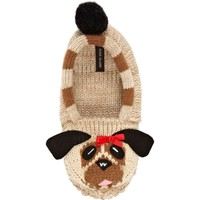 BROWN PUG KNITTED SLIPPER SOCKS