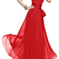 Gorgeous Bridal Narrow Waist Elegant Long Chiffon Prom Gown Satin Waistband
