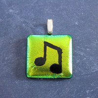 Music Note on Yellow Pendant, Fused Glass Jewelry, Musical Jewelry - Emma - 4550 -3