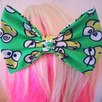 Keroppi hair bow / Frog hair bow / Sanrio hair bow / Hair bow clip / hello kitty hair bow / kawaii hair bow / fabric hair bow / character