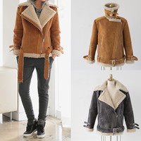 Womens Stylish Oversized Faux Shearling Jacket Lined with Faux Fur Camel Gray