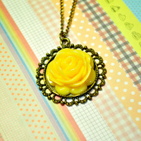 The Yellow Rosette Necklace