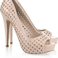 Miu Miu | Perforated patent-leather peep-toe pumps | NET-A-PORTER.COM