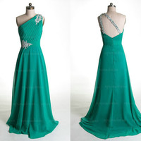 Cheap prom dresses, green prom dress, long prom dress, chiffon prom dress, cheap bridesmaid dress, one shoulder prom dresses, RE256