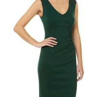 Green v neck drape dress