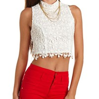 CROCHET MOCK NECK CROP TOP
