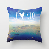 I love Rio Throw Pillow by Louise Machado