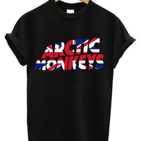 Hot Arctic Monkeys Premium UK Flag Logo Printed Supreme Men Cotton T Shirt Tee - AR2