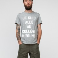 Kitsune Tee / College Kitsune in Grey