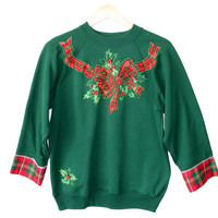 DIY Crafted Up Plaid Hot Mess Tacky Ugly Christmas Sweatshirt