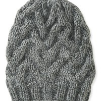 Cable-Knit Basket Beanie Hat