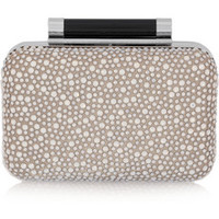 Diane von Furstenberg Tonda crystal-embellished satin and leather clutch – 48% at THE OUTNET.COM