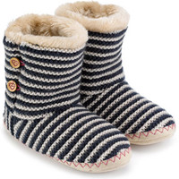 Pearl Knit And Stripe Slipper Boot | Navy | Accessorize