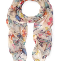 Multi Butterfly Silk Classic Scarf | Multi | Accessorize