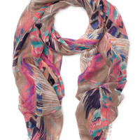 Pop Feather Print Scarf | Multi | Accessorize