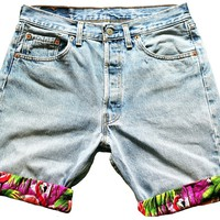 PINA COLADA - MEN'S VINTAGE LEVI 501 TURN UP SHORTS WITH TROPICAL PRINT