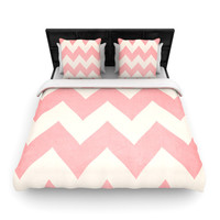 Catherine McDonald Sweet Kisses Pink Chevron Duvet Cover - BLACK FRIDAY SALE 40% OFF