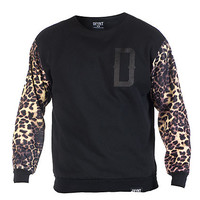 FIERCE SLEEVE CREW SWEATSHIRT - Black - DFYNT